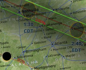 Map of eclipse totality in Tennessee and Northern Alabama