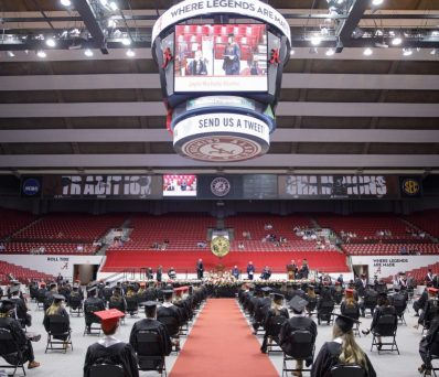 commencement ceremony in Coleman Coliseum