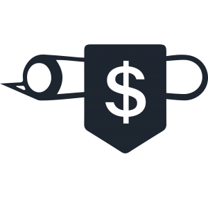icon of a dollar sign on a rolled up parchment